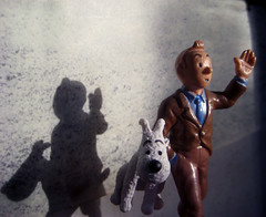 Tintin with Snowy 4295 (Brechtbug) Tags: from sculpture dog film statue by comics movie french toy toys tin comic belgium action snowy character coat cartoon running run plastic trench strip captain figure tintin adventures haddock herge the 2013