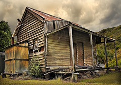 Two Doors Down (Tony Steinberg Photography) Tags: old chimney sky house color colour building abandoned clouds farmhouse rural bush cabin country neglected cottage australia scene queensland outback shack weekender rundown weatherboard rosewood workerscottage tonysteinberg