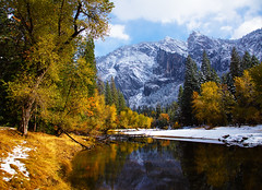 An Autumn Merced in Yosemite (DM Weber) Tags: california park autumn snow fall water colors canon river landscape eos scenery rocks merced national covered yosemite placid 5dmk2 psa148 dmweber