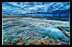 Bondi beach during the storm (picsie14) Tags: ocean longexposure blue sea storm beach water weather clouds contrast tripod sydney australia wideangle winner dramaticsky bondibeach hdr downunder bestshot nsa ultrawideangle bestphoto dramaticclouds poolswimmingpool dramaticcontrast nikond700