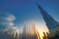 #850E6115 - Sunset and Burj Khalifa (crimsonbelt) Tags: city sunset clouds dubai sony khalifa waters scape za burj sal1635f28za variosonnart281635