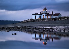 West Point Lighthouse, Reflected (Ingrid Taylar) Tags: seattle winter sunset reflection march washington afternoon sundown dusk parks olympus illuminated pacificnorthwest magnolia lowtide tidepool discoverypark omd march7 2013 em5 westpointlighthouse seattleparks discoveryparklighthouse zerotide lumix100300mm