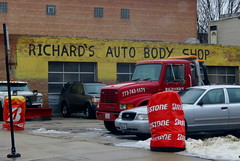 SO Chicago (to me) (Lucyrk in LA) Tags: life city winter red orange snow chicago cold cars ice broken car yellow shop truck fix logo outside outdoors photography march frozen photo illinois