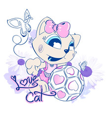 Love Cat (Jean Giovani Giovanella) Tags: love cat design do jean gato borboleta gata bola ilustrao mundo copa desenho sul giovani estampa jaragu barsil txtil giovanella
