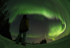 Aurora (Robbin Glliner) Tags: winter man green night canon lights star fisheye aurora 7d nikkor northern borealis selfshot 105mm