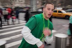 green rush (zlandr) Tags: street city nyc newyorkcity urban newyork manhattan candid flash olympus midtown stpatricksday omd em5 chrisfarling zlandr stpatricksday2013