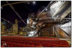 Jay Pritzker Pavilion (Frank Kehren) Tags: chicago skyline night canon illinois unitedstates stage milleniumpark 17 millenniumpark f11 bandshell frankgehry pritzkerpavilion jaypritzkerpavilion pritzkermusicpavilion canoneos5dmarkii tse17mmf4l canontse17mmf4l