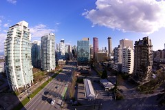 Today in Vancouver: Back in the Fishbowl ([Rikki] Julius Reque) Tags: park city shadow sky canada vancouver clouds marina buildings bc britishcolumbia seawall fisheye northvancouver westin bower canon50d club16 juliusrequecom