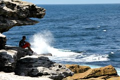 Pacific paradise (Peter Denton) Tags: sea seascape man guy nature bondi rocks peace oz australia pacificocean harmony nsw newsouthwales tranquil youngman tranquillity communing canoneos60d peterdenton gararrareserve