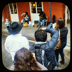 Bach in the saddle again (Friendly Joe) Tags: musician music musicians guitar neworleans bach violin buskers frenchquarter nola busker vieuxcarre ttv throughtheviewfinder anscoflexii buskingamove