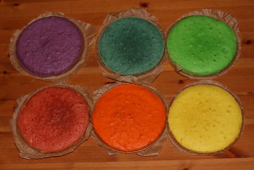 Making the rainbow cake