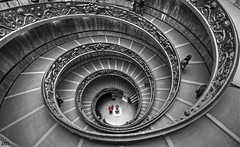 stairway from heaven (pictob) Tags: red blackandwhite bw italy white black vatican rome architecture stairs nikon wideangle stairway staircase circular selectivecolor circularstaircase vaticanmuseums nikond3000 photographyforrecreationeliteclub