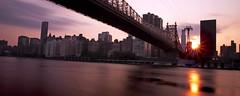 ([ raymond ]) Tags: nyc longexposure bridge sunset sky sun newyork clouds eastriver queensboro mg0920