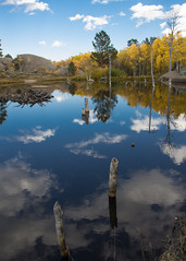 Beaver Pond Reflections (PhotoStorm22) Tags: autumn trees sky fall clouds pond september aspens aspen 2012 refection wy vedauwoo beaverpond
