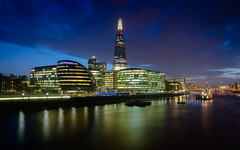 The Shard from Tower Bridge (Scott Baldock Photography) Tags: city nightphotography bridge blue england colour reflection london tower art glass thames architecture modern night clouds skyscraper reflections river landscape lights hall nikon long exposure neon ship cityscape place royal belfast east more hour shard riverthames bankside cityoflondon morelondon lightroom hms cityarchitecture
