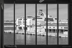 Boat through a window (Laurent VALENCIA) Tags: windows france port marseille noiretblanc culture paca capitale provence j1 cadre casanova sud fenetre tourisme marseilles sncm autonome sudest 2013