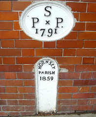 Hornsey Parish marker, Highgate, London (Tony Worrall Foto) Tags: street city uk england urban white london metal wall iron district south marker walls streetfurniture highgate redbrick 1791 1859 hornseyparish 2013tonyworrall hornseyparishmarker