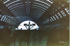 Milano, Stazione centrale...e un cane! (carlaespositoo) Tags: light dog milan color colors station dark reflex exposure colore milano olympus 100 scotch 1994 om expired stazione olympusom1n coeleur