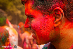red painted man Asha Stanford Holi Festival 2013 (tibchris) Tags: festival fun paint indian smiles stanford asha holi 2013 snapchris