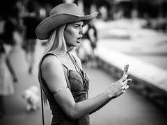 Cowgirl (totofffff) Tags: cannes croisette france french riviera street alpes maritimes mditerrane noir blanc black white festival film olympus om d e 10 mark ii 2