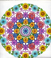 Secret Garden -004 (ronniesz) Tags: zentangleinspiredart adultcoloring derwentinktensepencils finelinecoloredpens prismacolorpencils patterns penandink nature flowers whimsy