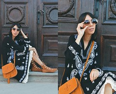 BOHO PAISLEY DRESS by Katy M., 29 year old blogger of DARE 2 WEAR from Ni, Serbia (9lookbook.com) Tags: allblack allblacklook armygreen aztec aztecclutch bohemian boho bohonecklace clutchbag flamingo flamingoprint fringe fringebag fringeheels fringejacket fringeshoes gypsy jumpsuit kimono lace lacedress laceup laceupflats okbutcoffeefirst rippedjeans tasselbag whitejeans