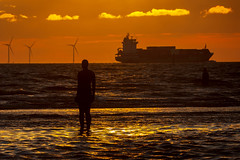 Crosby Beach - Another Place (Ian McFegan) Tags: crosby beach crosbybeach anotherplace anthonygormley statues sunset