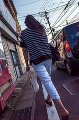 Girl (kmmanaka) Tags: japan nagasaki evening settingsun bicycle tram