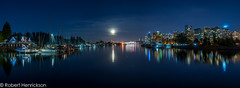 Vancouver Nightscape-12 (Robert Henrickson) Tags: vancouver stanleypark panorama nightscape cityscape skyline water ocean reflection longexpoosure fullmoon