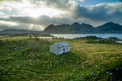 Architecture in Lofoten (Robin Lund) Tags: arctic hut building dronefoto old lofoten northernnorway sea fjord abandoned ocean house green nordnorge cottage luftfoto field dwelling housing