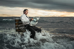 The Bench (Glenn Meling) Tags: bench water high tide hightide reading newspaper jely moss norway