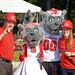 Build-A-Block co-chair Mike Giancola, Ms Wuf, Mr Wuf and co-chair Sarah Paluskiewicz pose for a photo before the ceremony begins.