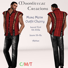 Muse Mens Outfit Cherry Ad Pic (moonlitecat) Tags: hunt your inner slut moonlitecat creation mesh slink belleze maitreya fimesh rigged high heel collar gacha spikes leather punk skirt haltertop halter top laced vest mens men women womens moon moonlite hudded texture change
