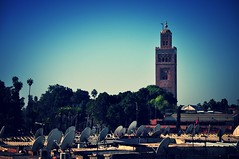 Marrakech rooftops (MagalieP) Tags: mosque morocco marrakech lakoutoubia