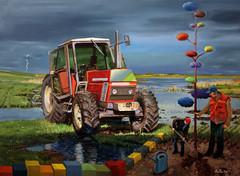 optimizmus / optimism (utcai david) Tags: tractor painting workers canvas oil optimism dávid utcai optimizmus