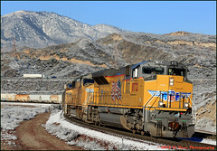 The Turn at Alray (El Roco Photography) Tags: california railroad santafe up train canon outdoors photographer desert rail trains socal sp mojave transportation unionpacific locomotive ge railfan bnsf trainspotting cajon railroads desertlandscape mojavedesert cutoff southernpacific sanbernardino freighttrain sanbernardinocalifornia desertflora inlandempire emd atsf burlingtonnorthernsantafe desertmountains cajonpass es44dc railfans alltrains sd90mac sd70mac stacktrain sd70ace bnsfrailroad traininaction c45accte burlingtonnorthernsantaferailroad movingtrains desertshrub desertbeauty aphotographersnature palmdalecutoff elrocophotography