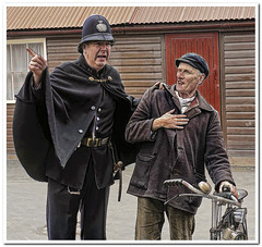 Your nicked! (Hugh Stanton) Tags: bicycle museum photoshop nikon hill victorian hats police copper bobby lantern arrest topaz reinactment blist
