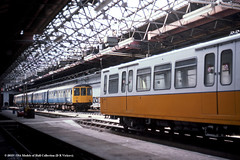 12/05/1979 - South Gosforth. (53A Models) Tags: electric train newcastle diesel railway emu britishrail passengertrain dmu southgosforth tynewearmetro brcw class104