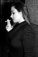 Loneliness (Prayitno / Thank you for (10 millions +) views) Tags: blackandwhite bw woman white black sexy girl beautiful lady female photo expression cigarette smoke young picture smoking single expressive potrait monochromia konomark