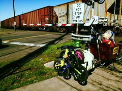 Kids 62/365 - Waiting on a Stopped Train (shanerh) Tags: train blair whitaker striders bakfiets uploaded:by=flickrmobile flickriosapp:filter=toucan toucanfilter kids366