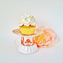 Le Petit Pretties Presents: The Emmy Petit New Bone China Cupcake Pedestal Stand (Haute High Tea) Tags: wedding orange cakestand bright display housewares hostess etsy teacup serving marieantoinette madhatter tabletop saucer teaparty whimsical aliceinwonderland entertaining tableware hightea ringholder cottagechic dessertbar jewelrystand dessertstand cupcakepedestal tidbitplate newbonechina