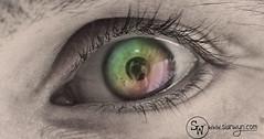 (Sian Wyn Design & Crafts) Tags: camera red color reflection eye face up design rainbow eyes close bright sw colourful sian lash ael brow coch llachar adlewyrchiad llygad llygaid enfys wyneb wyn agos lliwgar syllu dylunio staresian