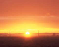 Behind the Rainbow (RZ68) Tags: light sun sunlight film water rain sunrise shower dawn golden rainbow gate glow baker fort marin velvia telephoto headlands ft but behind simple infrequent somewhere provia appreciate daybreak rz67 ggnra sanfranciscobaybridge e100 rz68