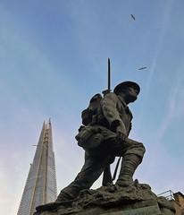 St Saviour's War Memorial.. (Dun.can) Tags: sky sculpture london statue bronze soldier gull borough 1922 warmemorial shard firstworldwar southwark se1 boroughhighstreet stsaviours infantryman theshard philiplindseyclark
