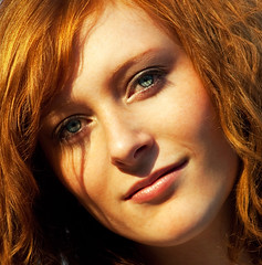 Denise... (akal_flickr) Tags: blue up eyes close redhead femaleportrait