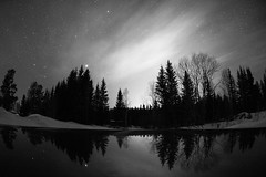 Night shift (Robbin Glliner) Tags: light bw reflection night canon stars long exposure fisheye pollution 7d nikkor 105mm