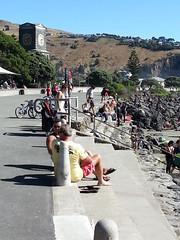 Enjoying the Autumn Weather (Jocey K) Tags: autumn beach shadows steps bikes clocktower hills sumner peoplerocks flickrandroidapp:filter=none