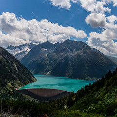 #120 - Lake Schlegeis [Explored] (Cliff_R (Thomas Richter)) Tags: blue sky panorama snow mountains alps water clouds austria tirol sterreich view dam glacier alpen zillertal 2011 schlegeis lakeschlegeis