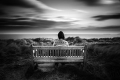 Sometimes it's OK to be alone (Pwllheli, Canon 6D, EOS Remote) (Anthony Owen-Jones) Tags: uk longexposure sea portrait sky blackandwhite bw white selfportrait seascape black art water monochrome wales self canon bench landscape mono landscapes photo europe artistic unitedkingdom fineart picture minimal photograph wifi ethereal nd minimalist bnw gwynedd pwllheli 6d northwales sep2 takenwith 10stop eosremote canon6d leebigstopper anthonyowenjonescom canon24105mmlf4efisusm