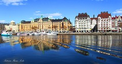 Stockholm (Patrizia Ilaria Sechi) Tags: blue sea beautiful clouds reflections landscape mirror boat scenery sweden stockholm ripple effect scandinavian platinumheartaward platinumheartshalloffame fineplatinum